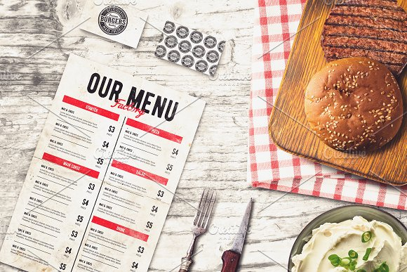 Burger Bar Menu & B-card Mock-up #1
