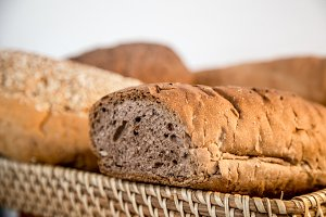 Whole wheat baguette , close-up