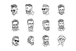 Hipster portrait illustration