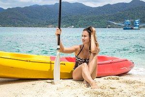 a girl on a canoe