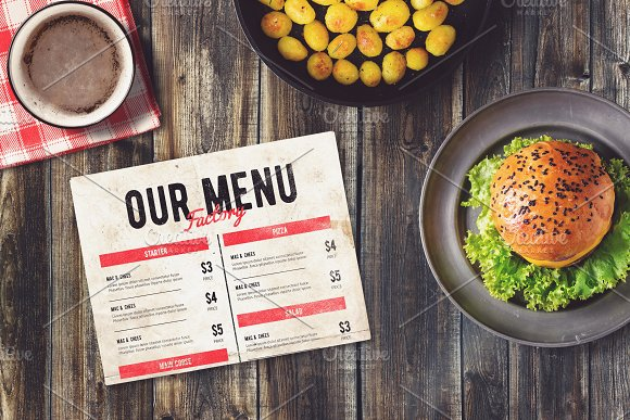 Burger Bar Menu Mock-up #1 in Print Mockups