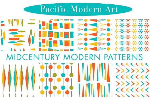 Mid Century Modern Retro Patterns Creative Market