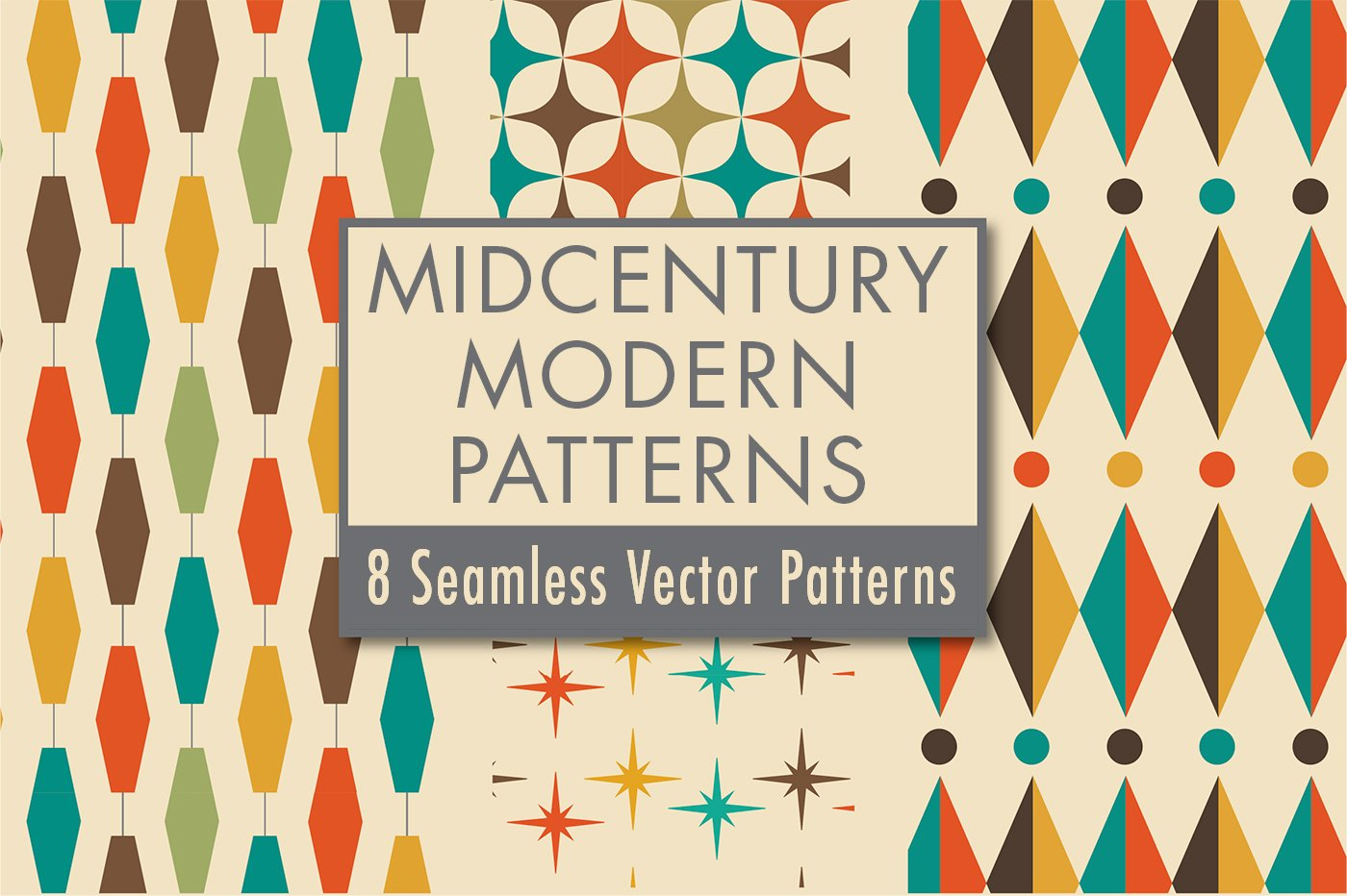 Mid Century Modern Patterns Vol 2 Creative Market
