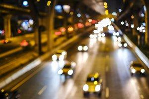 Bokeh of car light in the city