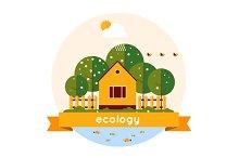 Village landscape. Ecology theme.