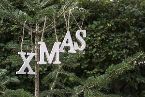 White wooden Text Xmas