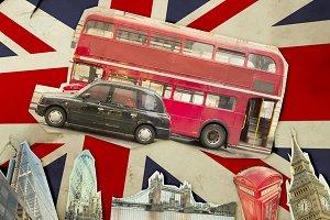 Collage of Big Ben, London Bus, Towe