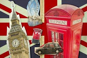Collage of Big Ben, London Eye, Red