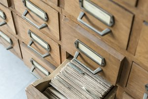 Old opened wooden drawers