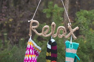 Text relax, winter hat, scarf and gl