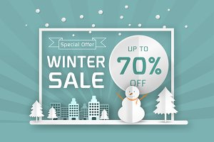 vector winter sale poster template