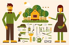 Gardener with tools icons