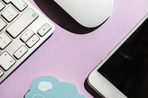 Smartphone, keyboard cloud and mouse
