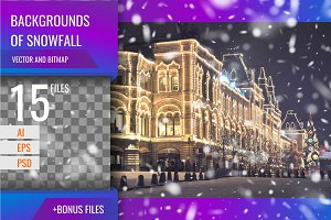 Vector backgrounds of snowfall