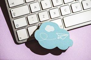 Cloud figure and keyboard