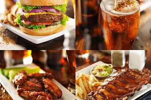burger, wings, beer, and ribs 4 pack