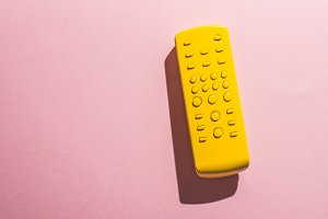 TV remote control unicolor yellow