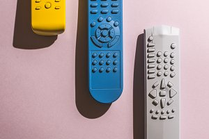 Many Colored TV remote controls
