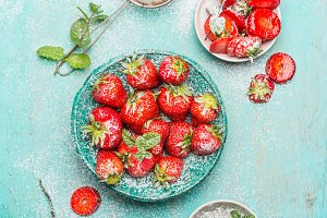 Strawberries  served in blue bowl