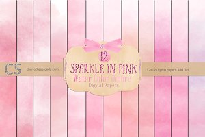 Sparkle in Pink Watercolor Paper