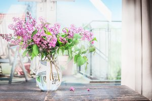 Bouquet  of blooming lilac in vase