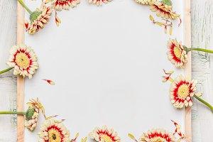 Frame of pretty Gerbera flowers