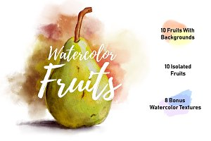 Watercolor Fruits + 8 Textures