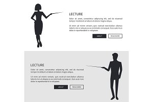 Lecturer Man and Woman Dressed Formally Silhouette