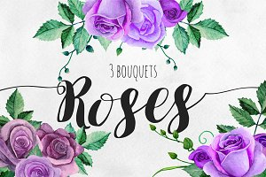 Watercolor purple roses bouquets