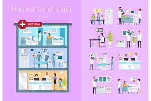 Hospital Constructor Icons Vector Illustration