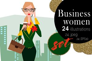 Business woman. Vector illustration.