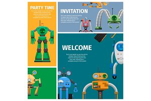 Invitation to Unusual Robot Party Illustration