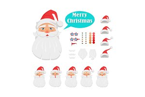 Merry Christmas Set of Santa Claus Face Icons