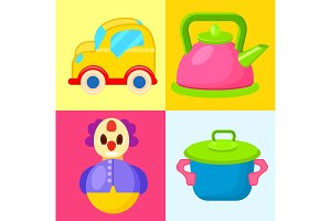Yellow Car, Pink Pot, Blue Pot and Tumbler Toys