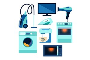 Flat style set, collection of home appliances
