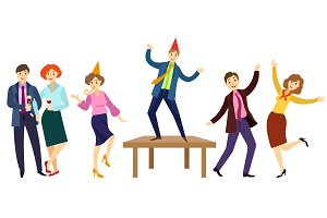vector flat office workers at party set