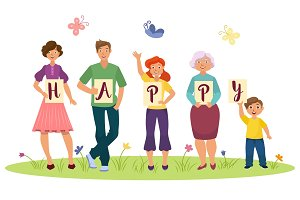 Cartoon family members holding HAPPY word letters