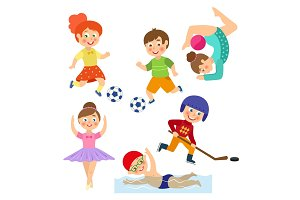 vector flat kids doing sports set