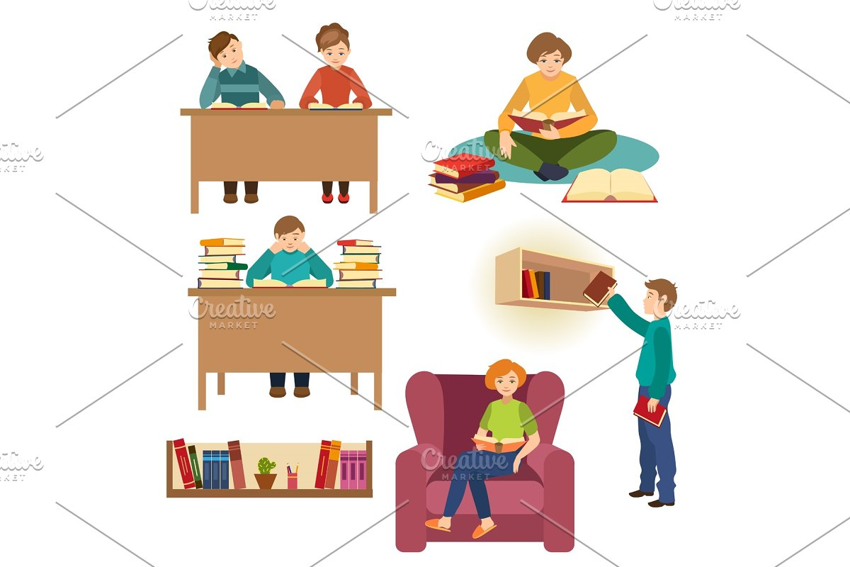 Set Of People Students Reading Books In Library