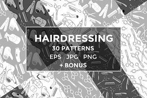 Hairdressing seamless pattern set