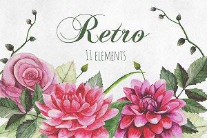 Watercolor flowers retro clip art