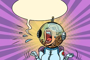 Funny angry woman astronaut