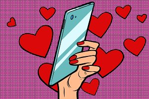 women and mobile Valentine day