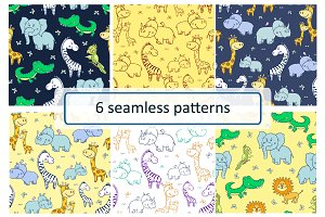 African animals.Seamless patterns.