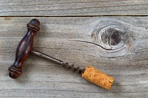 Vintage Corkscrew with attached cork