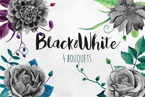 Black and white flowers bouquets