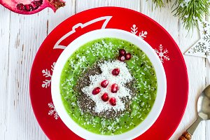 Christmas food healthy idea. Green smoothies