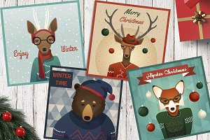 Set of new year christmas animals