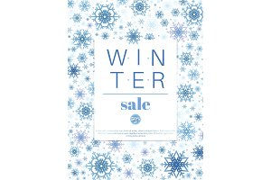 Winter Sale Banner Or Poster Template Design Background.