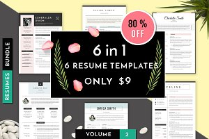 6 in 1 Resume Templates Bundle Vol 2